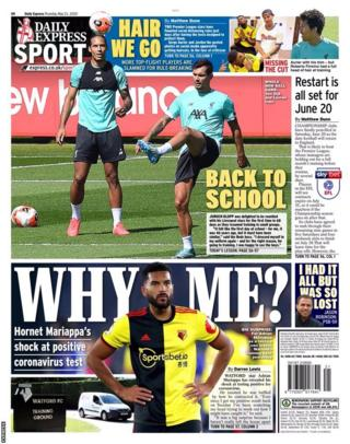 The back page of Thursday's Express