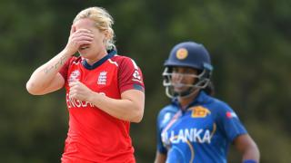 England's Katherine Brunt looks dejected