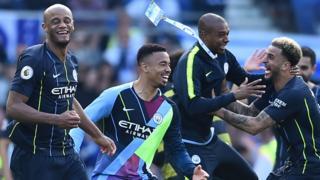 Vincent Kompany, Gabriel Jesus, Fernandinho, Kyle Walker, Manchester City