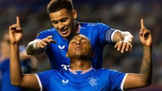Rangers' Alfredo Morelos and James Tavernier celebrate