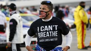 Bubba Wallace wears a Black Lives Matter shirt at Martinsville Speedway. 10 June 2020