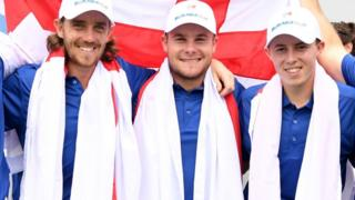 English golfers Tommy Fleetwood, Tyrrell Hatton and Matt Fitzpatrick