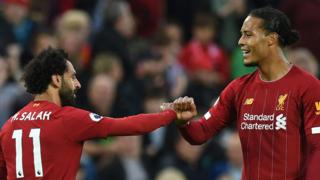 Mohamed Salah and Virgil van Dijk celebrate a goal for Liverpool against Norwich