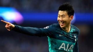 Son celebrates Spurs' equaliser