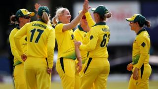 Delissa Kimmince celebrates taking a wicket for Australia