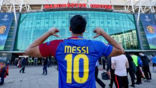 Barcelona fan outside Old Trafford