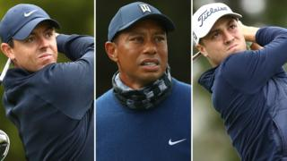 Rory McIlroy (left), Tiger Woods (centre) and Justin Thomas (right)