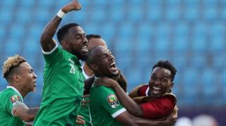Madagascar's players celebrate scoring against DR Congo at the Africa Cup of Nations