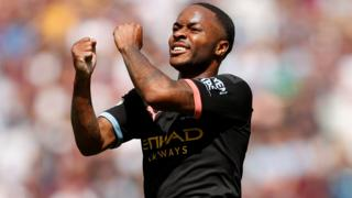 Raheem Sterling celebrates scoring for Manchester City against West Ham