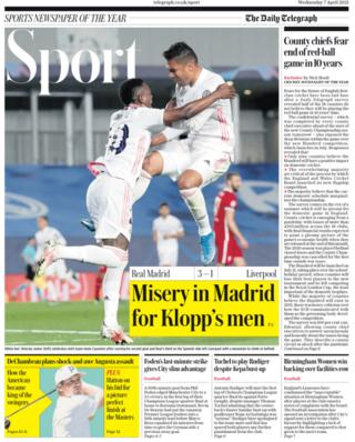 Wednesday's back pages: Telegraph - 'Misery in Madrid for Klopp's men'
