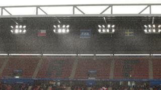 Rain and lightning at the stadium