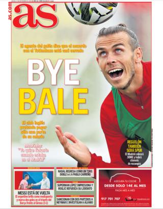 Front cover of Spanish newspaper AS
