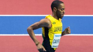 Kemoy Campbell competing for Jamaica