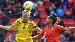 Sweden's defender Nilla Fischer vies with Chile's forward Maria Jose Urrutia