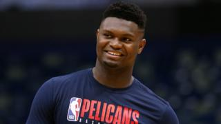 Zion Williamson smiles during training for the New Orleans Pelicans