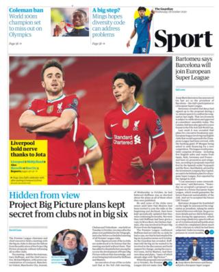 Wednesday's Guardian back page: Liverpool hold nerve thanks to Jota