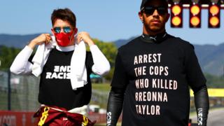 "Lewis Hamilton wearing a T-shirt before the Tuscan Grand Prix bearing the message: ""Arrest the cops who killed Breonna Taylor"""