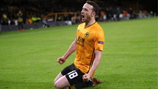 Diogo Jota celebrates his hat-trick