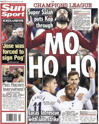 The Sun leads on Champions League progress for Liverpool and Tottenham