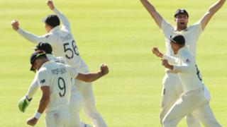 England players celebrate their fifth-day victory over South Africa in Cape Town