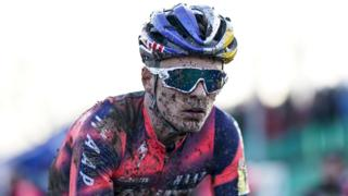 Tom Pidcock seen here riding in a cyclocross race