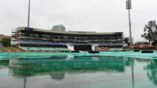 A general view of the Kingsmead stadium in Durban with rain continuing to fall on the covers