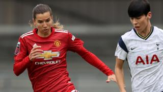 Manchester United's Tobin Heath in action against Tottenham