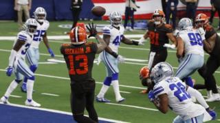 Odell Beckham Jr scores a touchdown against the Dallas Cowboys