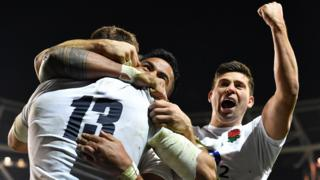 Ben Youngs, Henry Slade and Manu Tuilagi celebrate