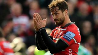 Danny Cipriani takes the applause of the Gloucester crowd
