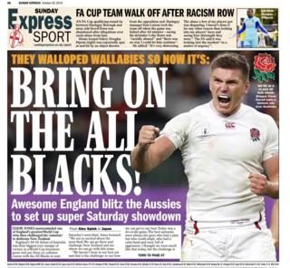 The back page of the Sunday Express