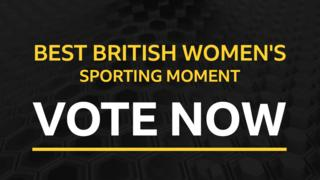 A graphic saying Best British Women's sporting moment vote now