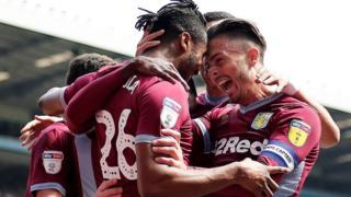 Aston Villa celebrate.