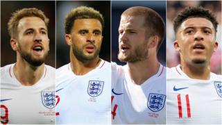 Harry Kane, Kyle Walker, Eric Dier & Jadon Sancho