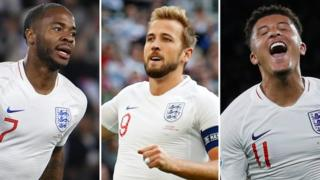 Harry Kane, Jadon Sancho and Raheem Sterling