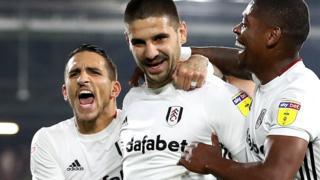 Aleksandar Mitrovic celebrates a Fulham goal