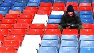 A fan inside Selhurst Park