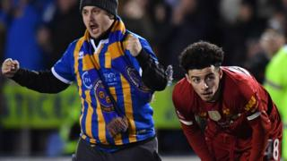 Shrewsbury fan and Curtis Jones
