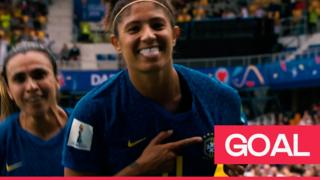 Cristiane celebrates Brazil's second goal