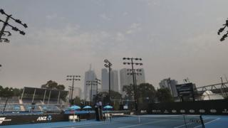 Smoke haze over Melbourne from Melbourne Park
