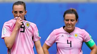 Scotland's Caroline Weir and Rachel Corsie are left disappointed