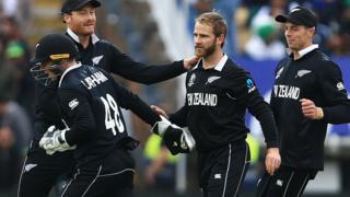 New Zealand captain Kane Williamson celebrates taking a wicket