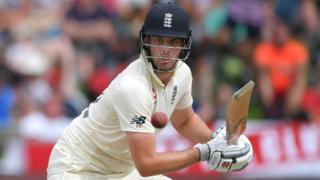 England batsman Dom Sibley watches the ball after playing a shot on day three of the second Test against South Africa