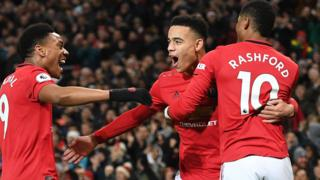 Manchester United's Mason Greenwood (centre), Anthony Martial(left) and Marcus Rashford