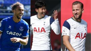 Everton's Dominic Calvert-Lewin and Tottenham duo Heung-min Son and Harry Kane