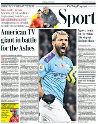 The Daily Telegraph's back page on Tuesday