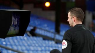 Referee Michael Oliver consulted the pitchside monitor during the FA Cup tie between Crystal Palace and Derby and changed his decision from a yellow to a red card for Luka Milivojevic