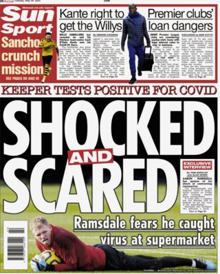 The Sun carries a story on Bournemouth goalkeeper Aaron Ramsdale speaking about contracting coronavirus