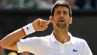 Novak Djokovic cups his ear