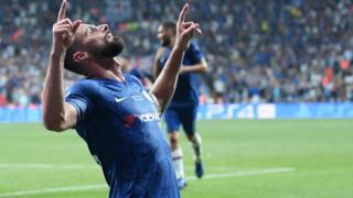 Giroud scores the opening goal for Chelsea